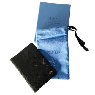 Smythson Navy Grained Leather Passport Cover