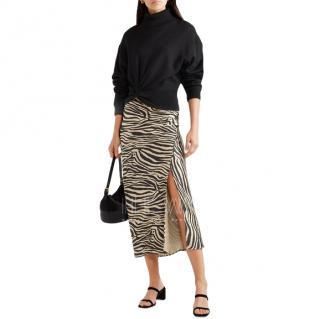 Anine Bing Silk Satin Zebra Print Dolly Skirt
