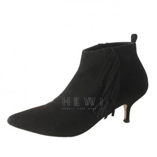 Vanessa Bruno Black Suede Fringed Ankle Boots