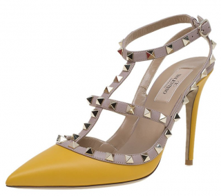 Valentino Yellow Rockstud Sandals