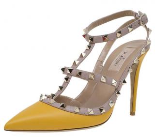 Valentino Yellow Rockstud Sandals