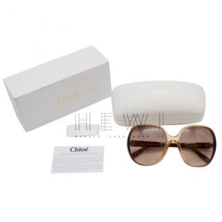 Chloe Misha Crystal Brown Fade Oversized Sunglasses