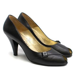 Chanel Black Peep-Toe Leather Pumps