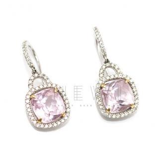 Bespoke 18k White Gold Pink Tourmaline & Diamond Earrings
