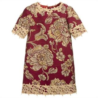 Lesy Girl's Red & Gold Silk Brocade Dress