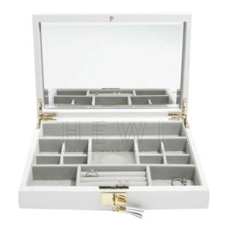 Stackers Orchid White Leather Jewellery Box