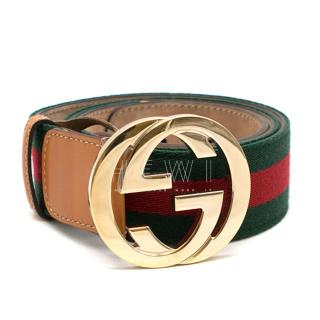 Gucci Web Striped Canvas Belt