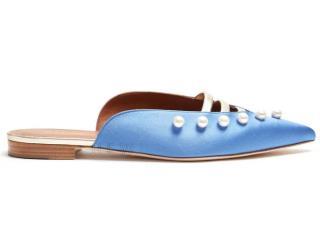 Malone Souliers Zelda Faux-Pearl Embellished Satin Loafers