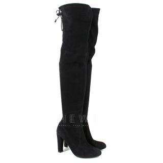 Stuart Weitzman Suede Highland stretch over-the-knee black boots