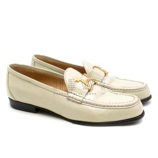 Hermes Cream Polished Leather Loafers