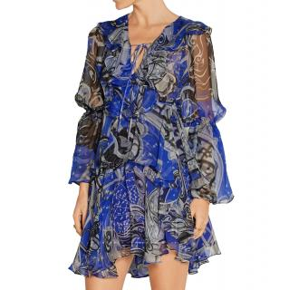 Emilio Pucci Ruffled Printed Silk-chiffon Mini Dress