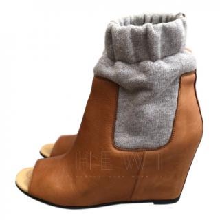 MM6 Maison Margiela Tan Open Toe Jogger Ankle Boots