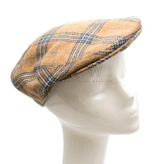 Dege & Skinner Savile Row Checkered Beige Tweed Newsboy Hat