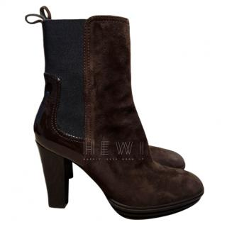 Hogan Suede & Patent Leather Ankle Boots