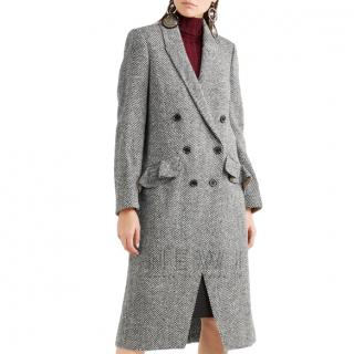Burberry Herringbone Tweed Double Breasted Coat