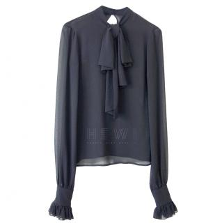 Saint Laurent Sheer Black Pussybow Blouse
