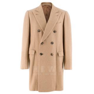 Hardy Amies Brown Wool Camel textured Long Coat