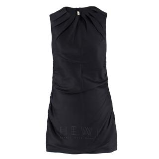 Prada black pleated ruched sleeveless dress