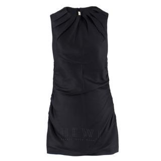 Prada black pleated ruched sleeveless dress