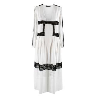 Burberry Prorsum White Silk Empire Waist Lace Trim Dress