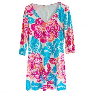 Diane Von Furstenberg Floral Print Silk Jersey Dress