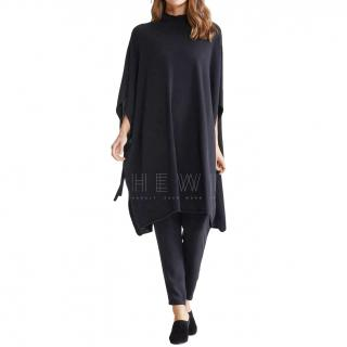 Eileen Fisher black tie side cashmere cape