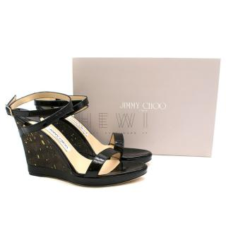 Jimmy Choo Patent Leather Ankle Wrap Wedge Sandals