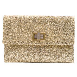 Anya Hindmarch Metallic Gold Glitter Valorie Clutch