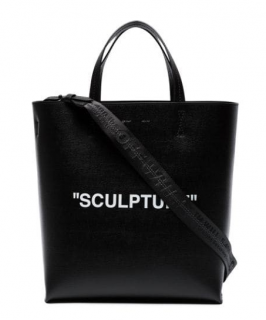 Off-White Black Leather Sculpture Tote Bag