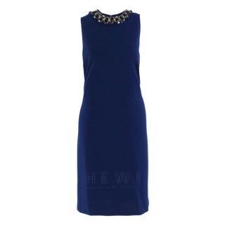 St. John embellished blue sleeveless dress