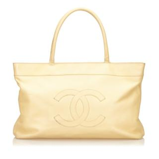 Chanel CC Cream Caviar Leather Tote Bag