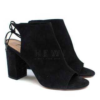Aquazzura Black Suede Block Heel Sandals