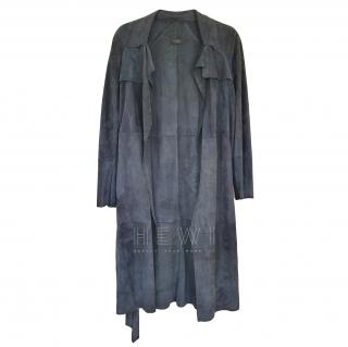 Joseph Blue Suede Duster Coat