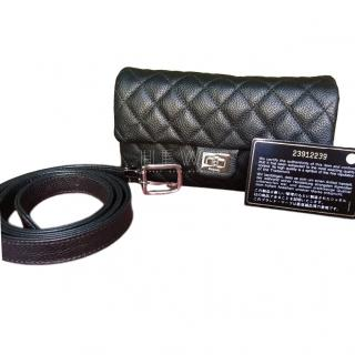 Chanel Uniform Black Caviar Leather Belt Bag