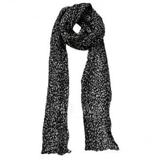 Saint Laurent Leopard Print Wool & Silk Scarf