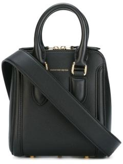Alexander Mcqueen Black Leather Mini Heroine satchel