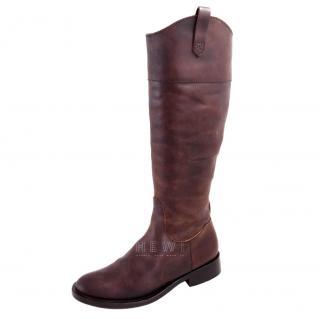 Brunello Cucinelli knee high brown boots