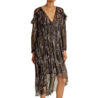 Zimmermann Black Paradiso Floral-print Silk Dress