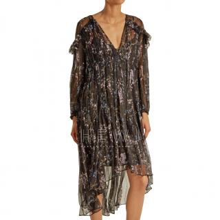 Zimmermann Black Paradiso Floral-print Silk Dress