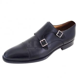 Magnanni black leather double monk brogues