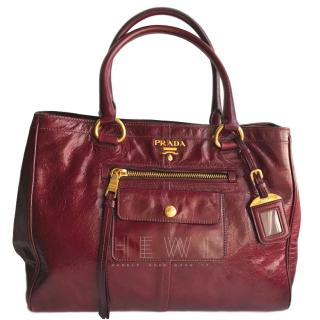 Prada Burgundy Leather Tote Bag
