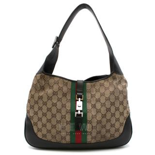 Gucci GG Supreme canvas hobo bag with interlocking Hardware
