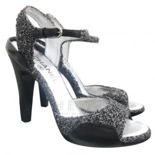 Chanel Glitter Tweed Sandals