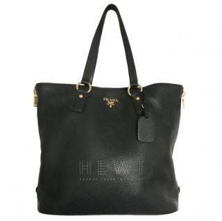 Prada Black Zip Detail Shopper Tote