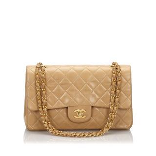Chanel Classic Beige Medium Lambskin Double Flap Bag