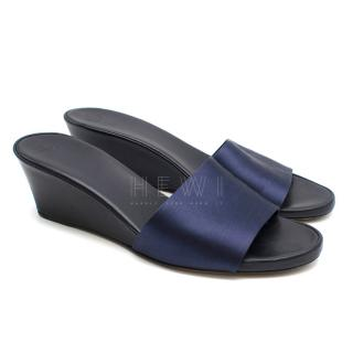 The Row Blue Suede Wedge Mules