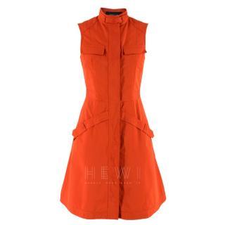 Derek Lam Brick Orange Sleeveless Utility Dress