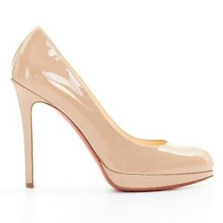 Christian Louboutin New Simple 120 nude patent pumps