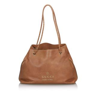 Gucci Leather Gifford Brown Tote Bag