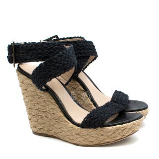 Stuart Weitzman Black Espadrille Wedge Sandals